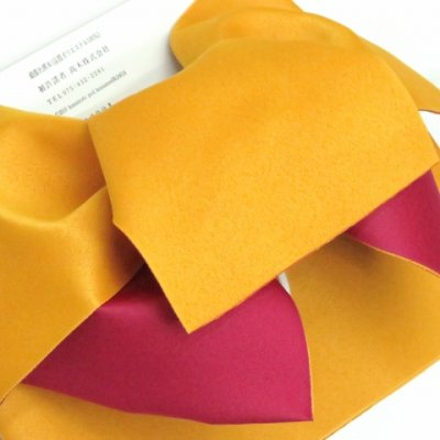 画像3: ≪在庫処分セール!≫  女性用浴衣帯 垂れ付き作り帯 日本製【黄色×チェリーピンク】