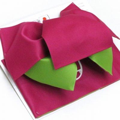 画像2: 女性用浴衣帯 リボン返し結びの垂れ付きの作り帯 日本製【チェリーピンク×黄緑】
