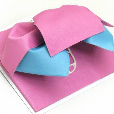 画像2: 女性用浴衣帯 リボン返し結びの垂れ付きの作り帯 日本製【ピンク×水色】