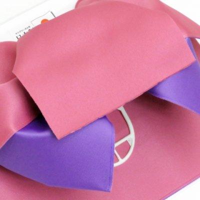画像3: 女性用浴衣帯 リボン返し結びの垂れ付きの作り帯 日本製【桃×藤】