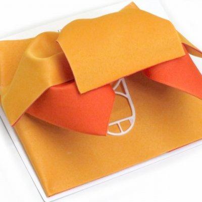 画像2: 女性用浴衣帯 リボン返し結びの垂れ付きの作り帯 日本製【黄色×オレンジ】