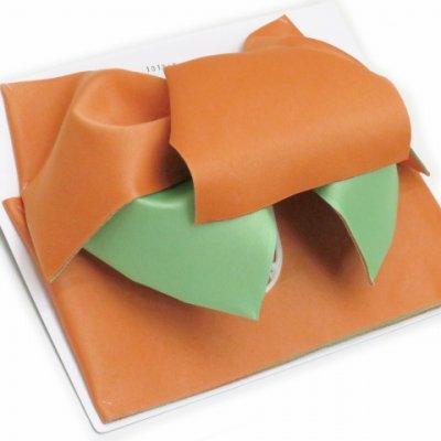画像2: 女性用浴衣帯 リボン返し結びの垂れ付きの作り帯 日本製【薄オレンジ×薄抹茶】