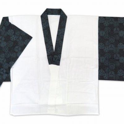 画像3: メンズ着物用インナー  粋な和柄の半衿付き半襦袢 半じゅばん 日本製 M/L/LLサイズ【黒灰、家紋柄】