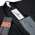 画像4: 小学校の卒業式 十三参りに 男子ジュニア用 紋付袴セット(合繊) 140cm-150cm向け【黒、縞袴】 (4)