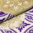 画像5: 振袖用 袋帯 正絹 成人式に 西陣織の袋帯 六通 仕立て上がり【アイボリー×青紫 七宝】