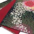 画像4: 振袖用 袋帯 正絹 成人式に 華やかな袋帯 六通 仕立て上がり【黒地 唐草に大輪の華】