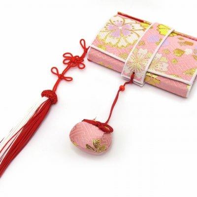 画像2: 七五三 箱せこセット 7歳 女の子 金襴生地の筥迫セット【ピンク 桜】