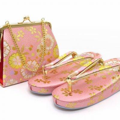 画像4: 七五三 箱せこセット 7歳 女の子 金襴生地の筥迫セット【ピンク 桜】