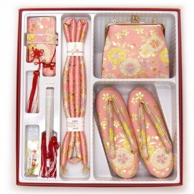 画像5: 七五三 箱せこセット 7歳 女の子 金襴生地の筥迫セット【ピンク 桜】