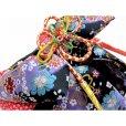 画像3: 七五三 結び帯 はこせこセット ペアセット 7歳 女の子用 大寸 (合繊)【黒紫 桜】