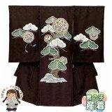 お宮参り 男の子 産着 手描き友禅 金駒刺繍 日本製 赤ちゃんの着物 初着 掛け着 正絹【こげ茶、松に華様紋】