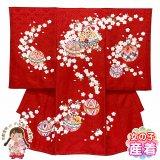 お宮参り 着物 女の子 手描き友禅 日本製 赤ちゃんのお祝い着 (初着 産着) 正絹【赤、鞠と鈴】