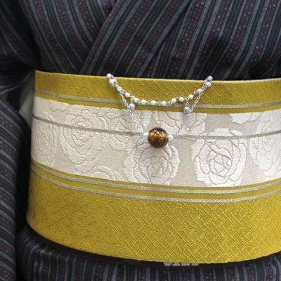 画像4: 帯飾り 着物・浴衣にチェーンにガラス玉の帯飾り【茶色】