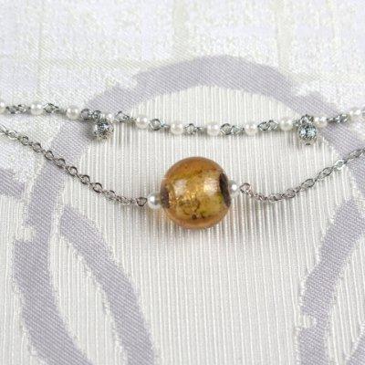 画像2: 帯飾り 着物・浴衣にチェーンにガラス玉の帯飾り【薄茶色】