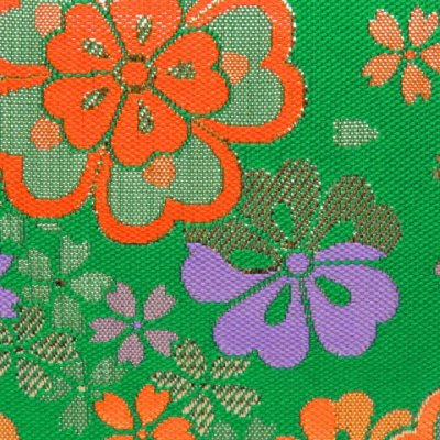 画像3: 七五三 バッグ 子供 金襴生地のバッグ 合繊【緑、古典桜】