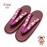 女性用 刺繍入り鼻緒の草履(ウレタンソール底) フリーサイズ【赤紫xエンジ】