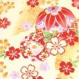 画像3: 七五三 着物 7歳 女の子用 フルセット 子供着物 結び帯セット(合繊)【クリーム 鞠に桜】