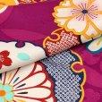 画像5: 七五三 着物 7歳 女の子 古典柄の子供着物(合繊)【赤紫系、雪輪と菊】 (5)