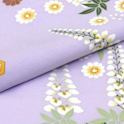 """画像4: """"RK(リョウコ キクチ)""""ブランド 洗える着物 袷 小紋 トールサイズ【薄紫 菊と藤】"""