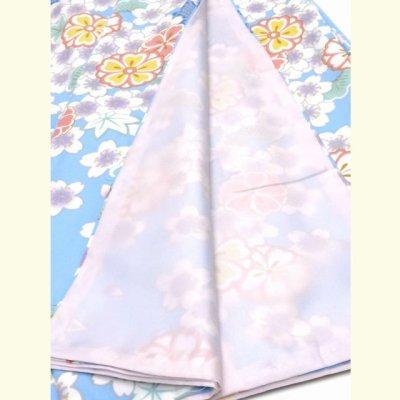 """画像5: """"RK(リョウコ キクチ)""""ブランド 洗える着物 袷 小紋 トールサイズ【水色 桜ともみじ】"""