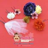 """こども髪飾り """"sumika"""" オリジナルアートフラワー髪飾り 5点セット【濃いブルー ラナンにチュール】"""