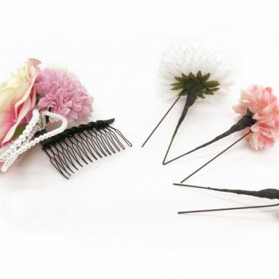 画像4: 髪飾り 卒業式 成人式  結婚式などに Sumika プロ仕様 オリジナル アートフラワー髪飾り 4点セット【クリームピンク マム】