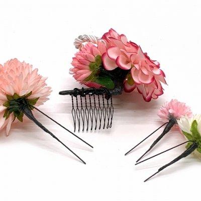 画像4: 和装 髪飾り 成人式の振袖 卒業式の袴に Sumika アートフラワー髪飾り 4点セット【ピンク系、ローズとマム】
