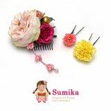 七五三 子供髪飾り Sumika アートフラワー髪飾り 3点セット【ピンク系、ウィリアムローズ】