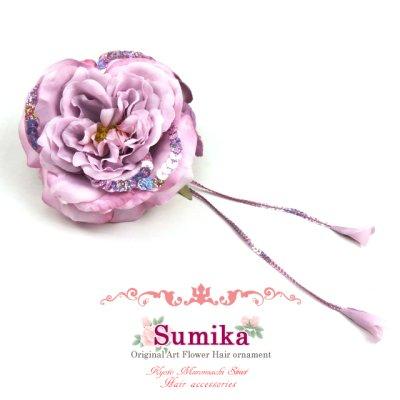 """画像1: 成人式・卒業式に """"Sumika""""プロ仕様のオリジナル大花髪飾り【パープル、ローズにスパンコール】"""