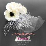 """和装・洋装に """"Sumika""""オリジナル・オリジナルヘッドドレス調花髪飾り【ホワイト、ビジューローズ】"""