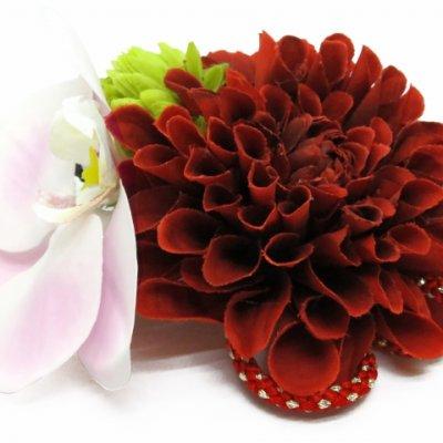 画像2: 髪飾り 紗千花 オリジナル アートフラワー髪飾り 3点セット【赤ダリアに蘭】