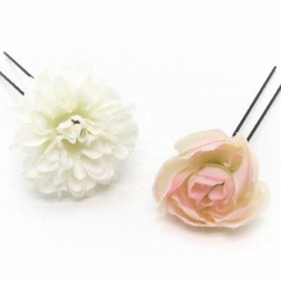 画像3: 髪飾り 紗千花 オリジナル アートフラワー髪飾り 3点セット【ピンク 大花にマム】