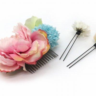 画像4: 髪飾り 紗千花 オリジナル アートフラワー髪飾り 3点セット【ピンク 大花にマム】