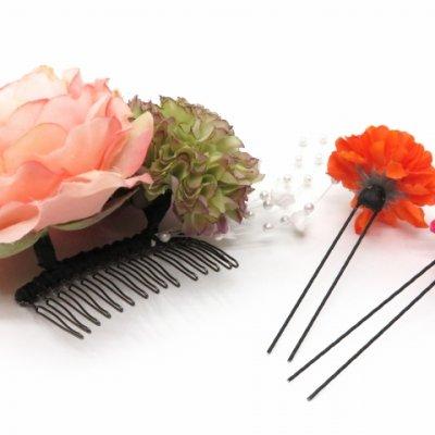 画像4: 髪飾り 紗千花 オリジナル アートフラワー髪飾り 3点セット【薄ピンク ラナン】