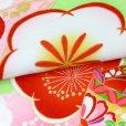 画像4: 式部浪漫 ブランド 七五三 7歳 女の子用 着物 フルセット 総柄の着物 結び帯セット(合繊)【黄緑 梅】