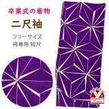 卒業式の着物 小紋柄の二尺袖 単品 ショート丈 フリーサイズ【紫、麻の葉】