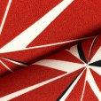 画像4: 卒業式の着物 小紋柄の二尺袖 単品 ショート丈 フリーサイズ【赤、麻の葉】 (4)