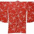 画像5: 卒業式の着物 小紋柄の二尺袖 単品 ショート丈 フリーサイズ【赤、麻の葉】 (5)