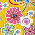 画像3: 卒業式の着物 小紋柄の二尺袖 単品 ショート丈 フリーサイズ【黄色系、花柄】 (3)