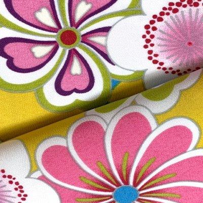 画像4: 卒業式の着物 小紋柄の二尺袖 単品 ショート丈 フリーサイズ【黄色系、花柄】