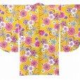画像5: 卒業式の着物 小紋柄の二尺袖 単品 ショート丈 フリーサイズ【黄色系、花柄】 (5)