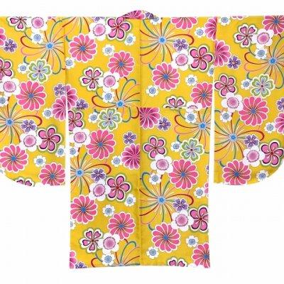 画像5: 卒業式の着物 小紋柄の二尺袖 単品 ショート丈 フリーサイズ【黄色系、花柄】