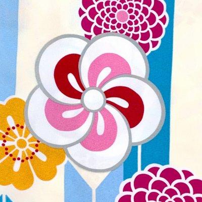 画像3: 卒業式の着物 小紋柄の二尺袖 単品 ショート丈 フリーサイズ【生成りx水色、矢羽にねじり梅】