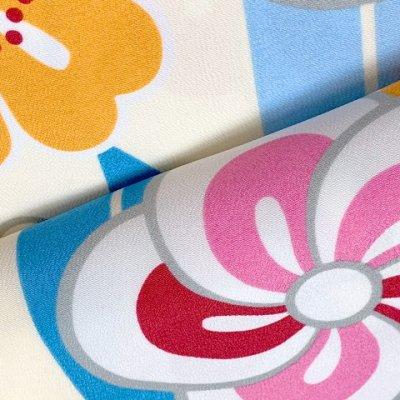 画像4: 卒業式の着物 小紋柄の二尺袖 単品 ショート丈 フリーサイズ【生成りx水色、矢羽にねじり梅】