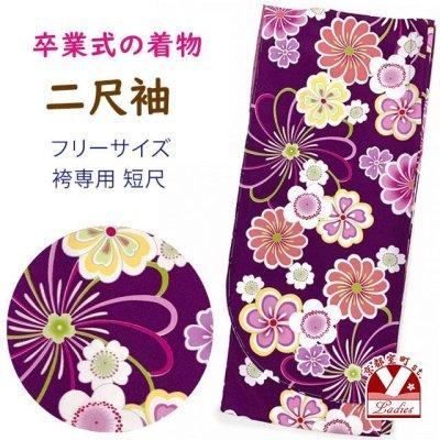 画像1: 卒業式の着物 小紋柄の二尺袖 単品 ショート丈 フリーサイズ【紫、花柄】