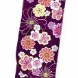 画像2: 卒業式の着物 小紋柄の二尺袖 単品 ショート丈 フリーサイズ【紫、花柄】 (2)