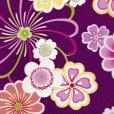 画像3: 卒業式の着物 小紋柄の二尺袖 単品 ショート丈 フリーサイズ【紫、花柄】 (3)