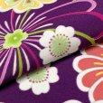 画像4: 卒業式の着物 小紋柄の二尺袖 単品 ショート丈 フリーサイズ【紫、花柄】 (4)