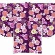 画像5: 卒業式の着物 小紋柄の二尺袖 単品 ショート丈 フリーサイズ【紫、花柄】 (5)