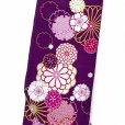 画像2: 卒業式の着物 小紋柄の二尺袖 単品 ショート丈 フリーサイズ【紫、菊と桜・雪輪】 (2)